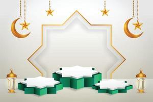 3D-produkt visar grönt och vitt podium-tema islam med halvmåne, lykta och stjärna för ramadan vektor