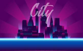 illustration av neonstadskväll med skyskrapabyggnader vektor