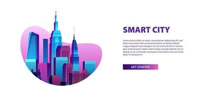 begreppet smart stadsillustration med moderna pop färgglada byggnader