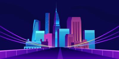 pop trendiga stadsbyggnad skyskrapa design med väg vektor