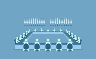 Führer aus verschiedenen Ländern sitzen zusammen, um sich zu treffen und zu diskutieren vektor