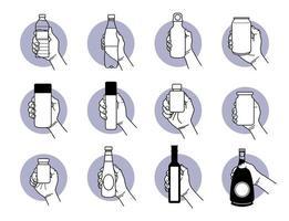 hand som håller olika typer av dricks- och dryckesflaskdesigner vektor