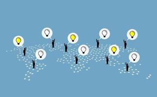 Menschen auf der ganzen Welt helfen und geben Ideen vektor
