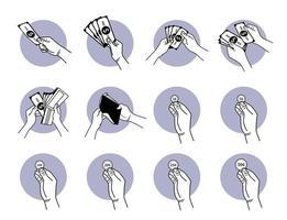 hand som håller papperspengar och myntuppsättning vektor