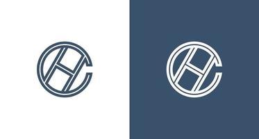 modernes und elegantes Buchstabe c und h Monogrammlogo in einer Kreisform gesetzt vektor