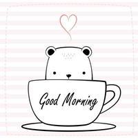 niedlicher Eisbär, der im Kaffeetassen-Cartoon-Gekritzel mit rosa gestreiftem Hintergrund sitzt vektor