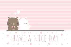 niedliche Teddybär und Eisbär Liebespaar Cartoon rosa gestreifte Tapete vektor