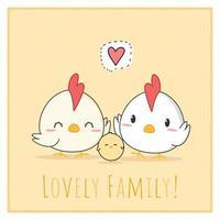 niedliche Huhn- und Hahnfamilienkarikatur-Gekritzelkarte vektor