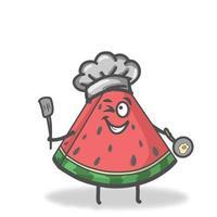 Kochen Wassermelone Charakter Vektor Vorlage Design Illustration
