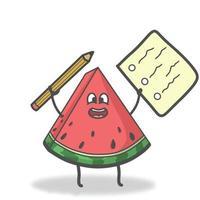 Student Wassermelone Charakter Vektor Vorlage Design Illustration