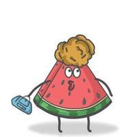 Einkauf Wassermelone Charakter Vektor Vorlage Design Illustration