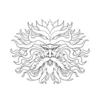 Helios, griechische Sonnengott-Kopfzeichnung, schwarz und weiß vektor