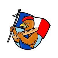Französischer Adler, der Flagge und Baguettekarikatur hält vektor