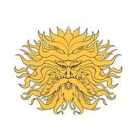 Helios, griechischer Gott des Sonnenkopfes, Zeichnungsfarbe vektor