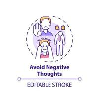 undvika ikonen för negativa tankekoncept vektor