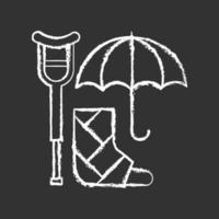 funktionshinder försäkring krita vit ikon på svart bakgrund