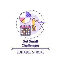 Setzen Sie kleine Herausforderungen Konzeptsymbol vektor