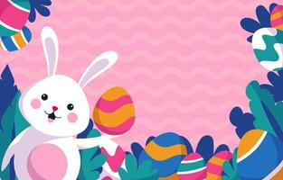 glückliches Ostern mit buntem Hintergrund vektor