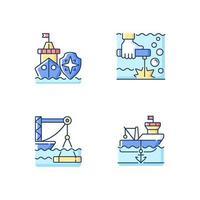 RGB-Farbsymbole der maritimen Industrie eingestellt vektor