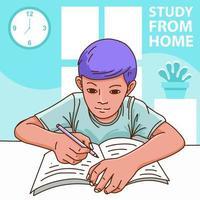 Jungen lernen zu Hause als Covid-Prävention vektor