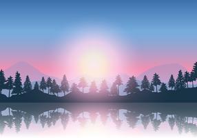 Berg och träd landskap vektor