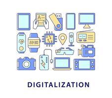 digitalisering abstrakt färgkonceptlayout med rubrik vektor