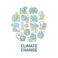abstraktes Farbkonzeptlayout des Klimawandels mit Überschrift vektor