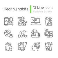 hälsosam aktivitet linjära ikoner set