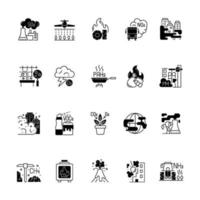 luftföroreningar svart linjär ikoner set vektor