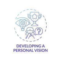 utveckla en personlig vision blå tonad koncept ikon vektor