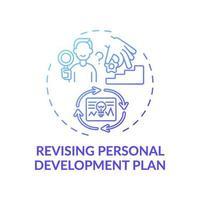 revidera personlig utvecklingsplan blå lutning koncept ikon vektor