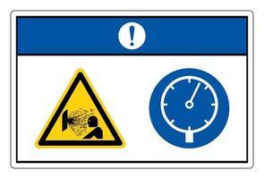 Gefahr unter Druck stehendes Gerät Symbolzeichen auf weißem Hintergrund vektor