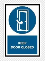 Halten Sie Tür geschlossen Symbol Zeichen isolieren auf transparentem Hintergrund, Vektor-Illustration