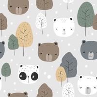 niedliches Teddybär Eisbär und Panda Cartoon nahtloses Muster vektor