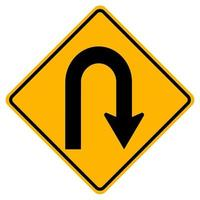 Warnung Verkehrszeichen Haarnadelkurve nach rechts auf weißem Hintergrund vektor
