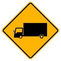 gelbes Symbolzeichen der Warn-LKW-Verkehrsstraße isolieren auf weißem Hintergrund, Vektorillustration eps.10 vektor