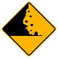 varningsskyltar faller stenar på vit bakgrund vektor