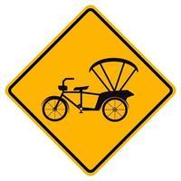 Warnung Fahrrad oder Dreirad Verkehrsstraße gelbes Symbol Zeichen isolieren auf weißem Hintergrund, Vektor-Illustration eps.10 vektor