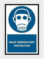 Tragen Sie Atemschutzsymbolzeichen isolieren Sie auf transparentem Hintergrund, Vektorillustration vektor