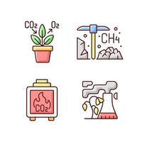 luftföroreningar rgb färgikoner set vektor