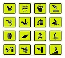 Warnsignalsymbole kennzeichnen Zeichen lokalisiert auf weißem Hintergrund, Vektorillustration vektor