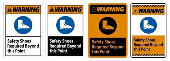 Warnschild Sicherheitsschuhe über diesen Punkt hinaus erforderlich vektor