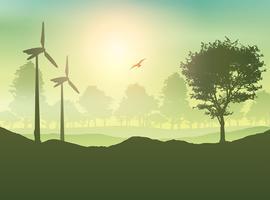 Windturbinen und Baumlandschaft
