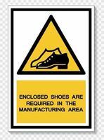 beiliegende Schuhe sind im Herstellungsbereich Symbol Zeichen Isolat auf weißem Hintergrund erforderlich, Vektor-Illustration eps.10 vektor