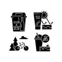 hälsosamma vanor svart glyph ikoner som på vitt utrymme