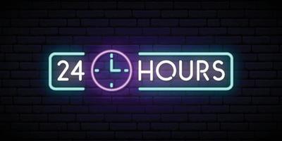 neonskylt 24 timmar. glödande glänsande designelement för klubb, bar, café. vektor