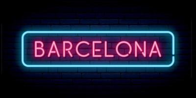 Barcelona Leuchtreklame. helles Licht Schild. vektor