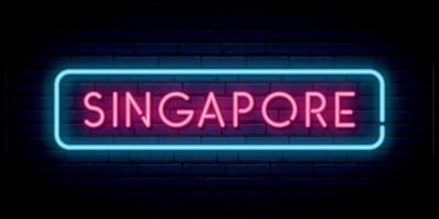 singapore neonskylt. skylt med starkt ljus. vektor