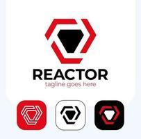 Superheld Reaktor Brust Mann Eisen Logo-Set vektor