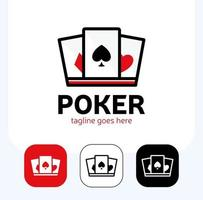 Krone und Pik-Ass zur Gestaltung des Poker-Logo-Sets vektor